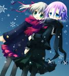 1girl androgynous blonde_hair blue_eyes blush coat crona_(soul_eater) hair_ornament hair_ribbon looking_at_viewer maka_albarn md5_mismatch pantyhose pink_hair purple_hair ribbon sakurazawa_izumi scarf school_uniform serafuku short_hair snow snowflakes soul_eater twintails winter