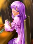 1girl ;d alcohol bangs blunt_bangs blush book bookshelf bottle chair dress drink drunk frills glass hand_on_own_arm head_tilt indoors jacket long_hair looking_at_viewer nose_blush one_eye_closed open_clothes open_jacket open_mouth patchouli_knowledge purple_dress purple_hair rody_(hayama_yuu) smile table tipsy touhou vertical-striped_dress vertical_stripes very_long_hair violet_eyes