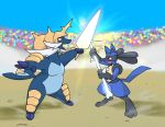 bone fighting lucario no_humans pokemon pokemon_(creature) samurott sketch sword weapon