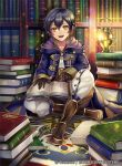 1boy bangs black_gloves black_hair book book_stack bookshelf boots brown_boots buttons commentary_request company_name fire_emblem fire_emblem:_kakusei full_body gloves hood_down hooded_jacket jacket lantern light_particles long_sleeves looking_at_viewer male_focus mark_(fire_emblem) matsurika_youko on_floor open_book open_mouth pants purple_jacket short_hair sitting smile star watermark white_pants yellow_eyes