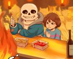 1boy :t androgynous black_eyes bottle brown_hair dog doggo eating fire french_fries frisk_(undertale) glasses greater_dog grillby grin jacket ketchup lesser_dog monster sans shirt short_hair skeleton smile striped striped_shirt tenperu_tapio undertale