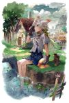1girl animal_ears barefoot boots clouds cloudy_sky dragonfly feet_in_water frog gloves green_eyes kyuusugi_toku long_hair original river shoes_removed silver_hair sitting skirt sky soaking_feet solo tail tree water