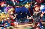 2girls american_flag_legwear american_flag_shirt ass black_shirt blonde_hair bowling_pin breasts chain circus cleavage clothes_writing clownpiece collar curtains earth_(ornament) fairy_wings flame frilled_skirt frills from_behind glowing gold_chain hat hecatia_lapislazuli jester_cap juggling levitation lights long_hair looking_afar looking_back moon_(ornament) multicolored_skirt multiple_girls murachiki off-shoulder_shirt red_eyes redhead shiny shiny_hair shirt short_sleeves skirt small_breasts smile spotlight touhou very_long_hair violet_eyes wings