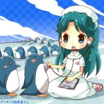 1girl bird blue_eyes blue_hair clipboard clouds go!_princess_precure hat hiyopuko kaidou_minami nurse nurse_cap open_mouth penguin polka_dot precure seiza shadow sitting stethoscope
