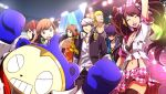 4boys 4girls amagi_yukiko bra breasts cleavage concert crowd everyone hanamura_yousuke hat headband headphones kujikawa_rise kuma_(persona_4) midriff multiple_boys multiple_girls narukami_yuu navel official_art open_collar persona persona_4 persona_4:_dancing_all_night satonaka_chie scan scarf shirogane_naoto skirt spotlight stadium stage suspenders sweatdrop tatsumi_kanji twintails underwear