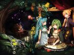 1boy 2girls aqua_eyes aqua_hair blonde_hair chest dress finger_to_mouth green_eyes green_hair gumi hatsune_miku highres kagamine_len long_hair looking_at_viewer multiple_girls one_eye_closed short_hair sitting sky smile star_(sky) starry_sky tama_(songe) twintails very_long_hair vocaloid