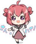 1girl :3 ahoge akaza_akari chibi double_bun lowres open_mouth redhead school_uniform serafuku smile translation_request violet_eyes yurichika_(pixiv3221904) yuru_yuri