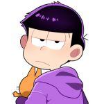 1boy black_eyes black_hair cat esper_nyanko hoodie ichimatsu looking_back lowres male_focus osomatsu-kun osomatsu-san upper_body yurichika_(pixiv3221904)