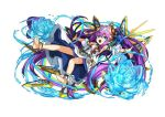 1girl artist_request blue_flower flower green_eyes lakshmi_(p&d) long_hair open_mouth purple_hair puzzle_&_dragons solo source_request
