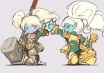 armor blue_skin high_five league_of_legends long_hair multiple_girls pointy_ears poppy tie_baihe twintails weapon white_hair yordle