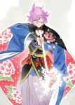 1boy blue_eyes flower hwei japanese_clothes kasen_kanesada katana male_focus petals purple_hair smile sword touken_ranbu weapon