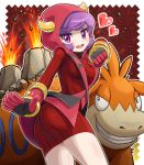 1girl ass camerupt eruption fake_horns fighting_stance gloves heart horned_headwear kagari_(pokemon) kagari_(pokemon)_(remake) looking_at_viewer open_mouth pokemoa pokemon pokemon_(creature) pokemon_(game) pokemon_oras purple_hair ribbed_sweater short_hair sweater team_magma uniform violet_eyes