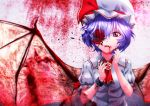 1girl aono_meri bangs bat_wings blood blood_in_mouth blood_on_face bloody_wings bow broken broken_chain brooch chain claws cuffs flower_eyepatch frills hat hat_ribbon jewelry mob_cap nail_polish neckerchief parted_lips petals puffy_short_sleeves puffy_sleeves purple_hair red_bow red_eyes red_flower red_nails red_ribbon remilia_scarlet ribbon shackles short_hair short_sleeves solo touhou upper_body wings