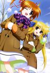 2girls :d ;d absurdres blonde_hair brown_hair coat dress fate_testarossa hair_ribbon higa_yukari highres long_hair long_sleeves lyrical_nanoha mahou_shoujo_lyrical_nanoha mittens multiple_girls nyantype official_art one_eye_closed open_mouth red_eyes ribbon scan scarf school_uniform shiny shiny_hair short_hair short_twintails smile snow snowball takamachi_nanoha twintails violet_eyes winter