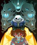 1boy androgynous aura blood blood_on_face bloody_knife bone brown_hair chara_(undertale) evil_smile frisk_(undertale) gasterblaster glowing glowing_eye grin highres jacket jewelry knife locket pendant red_eyes sans shirt skeleton skull slippers smile smirk spoilers stained_glass striped striped_shirt tenperu_tapio undertale