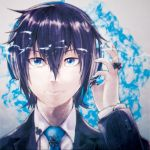 1boy amaneryuusei blue_eyes blue_hair blue_nails close-up collared_shirt commentary_request face formal hair_between_eyes hair_ornament hairclip headphones long_sleeves looking_at_viewer nail_polish shirt solo suit upper_body x_hair_ornament