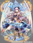 1girl alternate_costume collaboration grey_background instrument ixima long_hair magician_wiz_(game) megurine_luka pink_hair solo synthesizer tagme very_long_hair vocaloid wings
