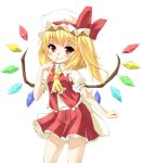 ascot blonde_hair finger_to_mouth flandre_scarlet grin hat mamedenkyuu mamedenkyuu_(berun) ponytail red_eyes short_hair side_ponytail simple_background smile smirk solo thinking touhou wings