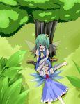 blue_hair cirno daiyousei green_eyes green_hair highres kachuten lap_pillow multiple_girls sleeping touhou tree wings
