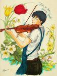 1boy amasawa_seiji apron black_hair blue_eyes bow_(instrument) english flower highres instrument kuiro_916 male_focus marker_(medium) mimi_wo_sumaseba playing_instrument solo studio_ghibli traditional_media twitter_username violin