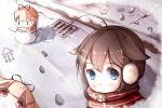 2girls black_ribbon blonde_hair blue_eyes brown_hair closed_mouth commentary_request hair_flaps hair_ornament hair_ribbon hairclip kantai_collection kotori_photobomb long_hair multiple_girls pxlily red_eyes remodel_(kantai_collection) ribbon scarf shigure_(kantai_collection) smile snow winter yuudachi_(kantai_collection) |_|