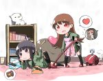 1boy 2girls admiral_(kantai_collection) apron backscratcher black_hair blush_stickers book bookshelf braid brown_eyes brown_hair controller fairy_(kantai_collection) heart hiromochi_jin kantai_collection kitakami_(kantai_collection) long_hair multiple_girls ooi_(kantai_collection) open_mouth potato_chips remote_control school_uniform serafuku smile spoken_heart spoken_object stuffed_animal stuffed_toy tissue_box vacuum_cleaner