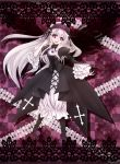 1girl bangs boots dress flower highres lace long_hair looking_at_viewer open_mouth pink_eyes ribbon rose rozen_maiden shachimaru_(shino) silver_hair smile solo suigintou very_long_hair wings