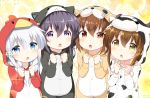 4girls akatsuki_(kantai_collection) alternate_costume alternate_hairstyle animal_costume bell_(oppore_coppore) bird_costume blue_eyes brown_eyes brown_hair cat_costume commentary_request cow_costume fang hibiki_(kantai_collection) hooded ikazuchi_(kantai_collection) inazuma_(kantai_collection) kantai_collection long_hair long_sleeves multiple_girls open_mouth pom_pom_(clothes) purple_hair silver_hair sparkle_background tiger_costume tiger_print violet_eyes