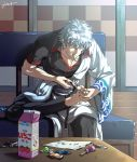 1boy blue_hair candy carton chocolate_bar gintama japanese_clothes kim_yura_(goddess_mechanic) lollipop male_focus nail_clippers paper sakata_gintoki signature sitting solo table toenails