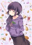 1girl baseball_bat candy egg food fruit genderswap hoodie ichimatsu japanese_flag letter long_hair love_letter money oden osomatsu-kun osomatsu-san parfait purple_hair senmen_kinuko violet_eyes