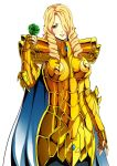 1girl armor blonde_hair blue_eyes drill_hair flower gauntlets gold_cloth hair_over_one_eye highres holding holding_flower long_hair looking_at_viewer saint_seiya simple_background solo spaulders white_background