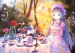 1girl bangs black_hair blue_eyes blunt_bangs blurry bonnet bottle bow cage cake cake_stand cup cupcake dress feitaru flower food glass himemiya_maho layered_dress long_hair long_sleeves pastry pink_dress pink_flower plate princess_connect! red_flower reflection rose saucer shadow slice_of_cake solo spoon sweets table tablecloth tea_party teacup teapot tears tiered_tray vase very_long_hair water wide_sleeves x_hair_ornament