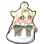1girl :d bag black_ribbon blonde_hair fang hair_flaps hair_ornament hair_ribbon hairclip in_bag in_container jako_(jakoo21) kantai_collection long_hair open_mouth red_eyes remodel_(kantai_collection) ribbon smile solid_circle_eyes the_yuudachi-like_creature yuudachi_(kantai_collection)