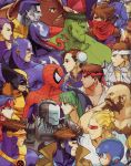 beard bengus blonde_hair blue_hair bodysuit brown_hair bun_cover captain_america captain_commando_(character) chest_hair chun-li colossus_(x-men) cyclops_(x-men) double_bun earrings facial_hair gambit green_hair green_skin head_wings headband helmet high_collar highres hulk jewelry jubilee juggernaut_(x-men) long_tongue looking_at_another marvel_vs._capcom mohawk morrigan_aensland mustache official_art open_mouth power_armor psylocke purple_hair rockman_(character) roll ryuu_(street_fighter) saotome_jin scarf sharp_teeth shoulder_spikes spider-man spikes strider_hiryuu stubble superhero symbiote tongue venom_(marvel) visor war_machine wolverine zangief zentai