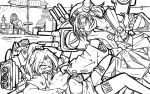 3girls artist_request breasts character_request cleavage freckles greyscale kantai_collection kirishima_(kantai_collection) monochrome multiple_girls nontraditional_miko original rigging sweat thigh-highs turret