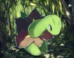 antennae claws forest meganium nature no_humans outdoors pippi_(pixiv_1922055) plant pokemon pokemon_(creature) solo tree yellow_eyes