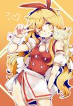 1girl ;) blonde_hair cat cleavage_cutout ellen gradient gradient_background hairband heart long_hair looking_at_viewer one_eye_closed orange_background smile sokrates_(touhou) solo touhou touhou_(pc-98) v wadante yellow_eyes