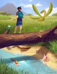 1boy alternate_color backpack bag barefoot blue_sky blurry brown_hair clouds crustle depth_of_field from_behind grass hat highres joltik kezrek lake magikarp mountain mushroom poke_ball pokemon pokemon_(creature) pokemon_(game) pokemon_bw pokemon_rse pokemon_trainer reflection shiny_pokemon shorts skitty sky sparkle standing stream surskit swablu tree tropius watermark web_address