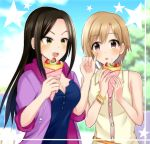 2girls aiba_yumi black_hair breasts brown_eyes brown_hair cream_on_face crepe easyfunkycrazy highres idolmaster idolmaster_cinderella_girls long_hair mukai_takumi multiple_girls short_hair
