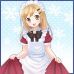 1girl blonde_hair financier long_hair maid maid_headdress neptune_(series) skirt skirt_lift solo yellow_eyes