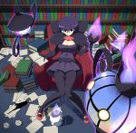 1girl bob_cut book breasts chandelure cleavage elite_four fire ghost glasses highres ink lampent library litwick looking_at_viewer pantyhose paper pen pokemon pokemon_(creature) pokemon_(game) pokemon_bw purple_fire purple_hair purple_skirt round_glasses shikimi_(pokemon) short_hair sitting skirt tm_(hanamakisan) violet_eyes