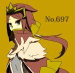 1girl anemoi5648 covered_mouth fur_trim grey_eyes headpiece personification pokemon ponytail redhead solo tyrantrum upper_body