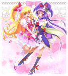 2girls artist_request asahina_mirai blonde_hair blush cure_magical cure_miracle dress duo gloves happy izayoi_liko long_hair magical_girl mahou_girls_precure! mahou_shoujo pink_eyes purple_eyes side_ponytail source_request violet_hair