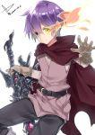 cape glowing glowing_eye heterochromia luka_(mon-musu_quest!) mon-musu_quest! purple_hair solo weapon yatsu_(sasuraino)