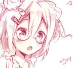 1girl :o ahoge blush creative_commons face glasses hair_ornament hairpin mony original portrait short_hair simple_background sketch surprised tagme white_background
