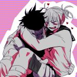 1boy 1girl akagure_chizome blush boku_no_hero_academia monochrome toga_himiko