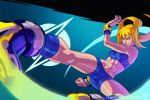 1girl abs blonde_hair bracelet crop_top flying_kick jewelry kajinman kicking metroid_fusion ponytail samus_aran short_shorts shorts solo super_smash_bros. toned