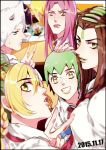 black_border blonde_hair blurry border braid brown_eyes brown_hair cup dated depth_of_field desk double_bun drinking_straw foo_fighters green_eyes green_hair green_lipstick grey_hair grin hand_on_another's_head hermes_costello horns jojo_no_kimyou_na_bouken kuujou_jolyne lipstick long_hair makeup multicolored_hair nail_polish narciso_anasui pink_hair pink_lipstick pink_nails rena_(renasight) school_uniform short_hair smile two-tone_hair v weather_report