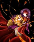1girl black_background cape fire fire_emblem fire_emblem:_akatsuki_no_megami fire_emblem:_souen_no_kiseki headband long_hair long_sleeves magic purple_hair robe sanaki_kirsch_altina serious solo tenmaru yellow_eyes