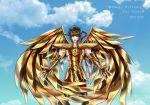 1boy armor blush brown_hair closed_eyes clouds gauntlets gloves metal_wings open_mouth sagittarius_aiolos saint_seiya scopion_spica sky solo